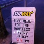 Subway feeds the Homeless